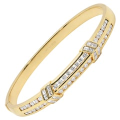 Modern 18 Carat Yellow Gold and Diamond Arrow Bangle