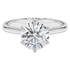 2 Carat GIA Certified Diamond Classic Solitaire Engagement Ring 18K White Gold