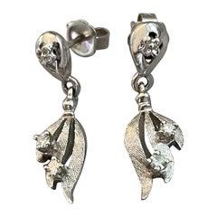 Vintage Single Cut Diamond 14 Karat White Gold Drop Pierced Stud Earrings
