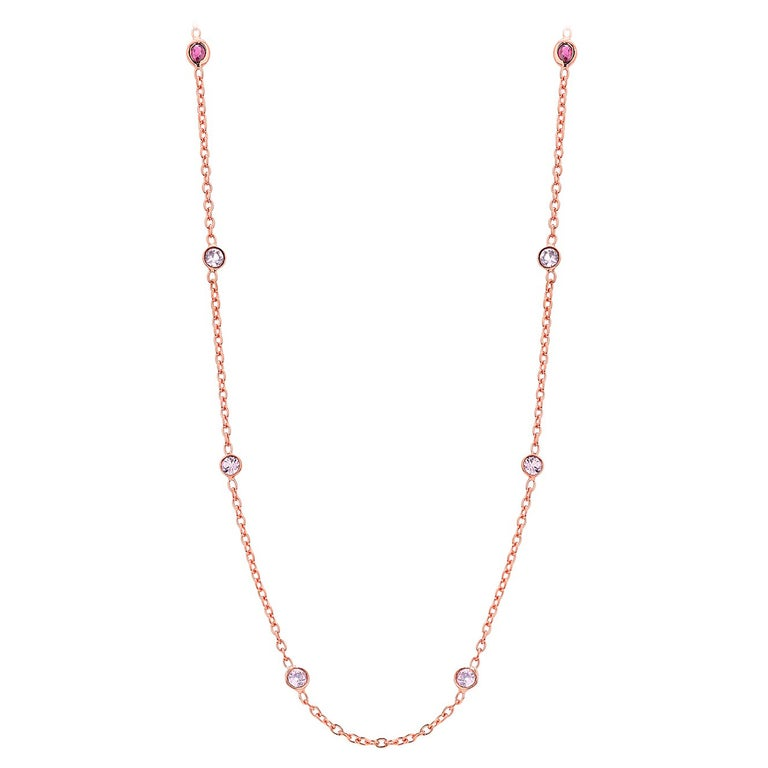 Eight Natural Pink Sapphires and Rubies Bezel Necklace Silver Rose Gold Plated For Sale