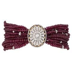 Multi Strand Ruby Bracelet Diamond Clasp Estate 18k White Gold Vintage Jewelry