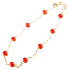 Intini Jewes 9 Karat Gold Chain Mediterranean Red Coral Spheres Anklet Bracelet