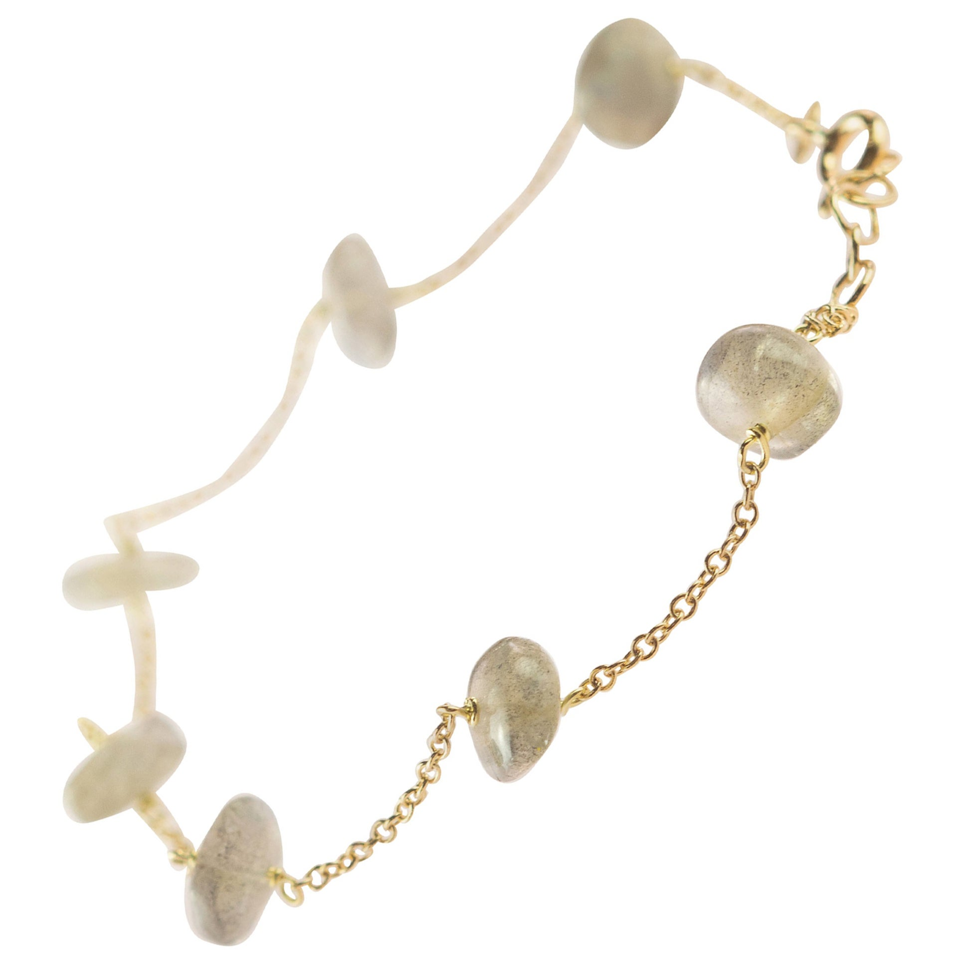 Intini Jewes Gold Plate Chain Cat's Eye Rondelles Handmade Anklet Bracelet