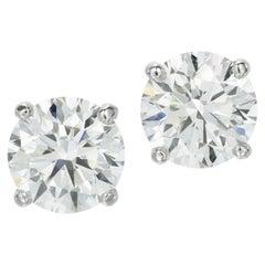 Flawless GIA Certified 10.16 Carat Round Brilliant Cut Diamond Studs