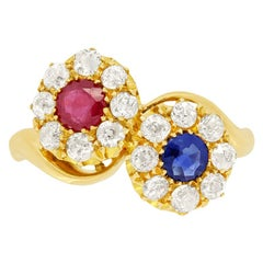 Edwardian 0.30ct Ruby, Sapphire and Diamond Cluster Ring, Hallmarked 1910