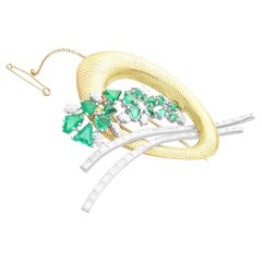 6.07Ct Emerald and 4.05Ct Diamond Yellow Gold and Platinum Brooch