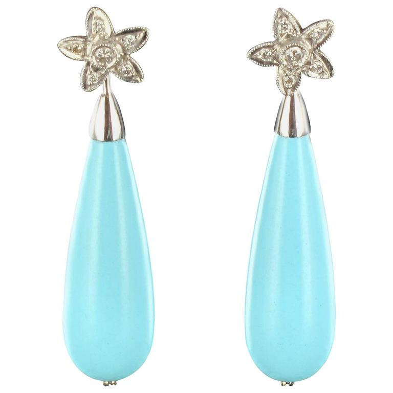 Turquoise Diamond Gold Stud Teardrop Earrings