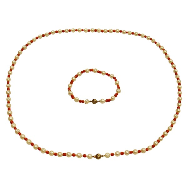 Cultered Pearl and Coral Bead Necklace with Matching Bracelet, Circa 1970