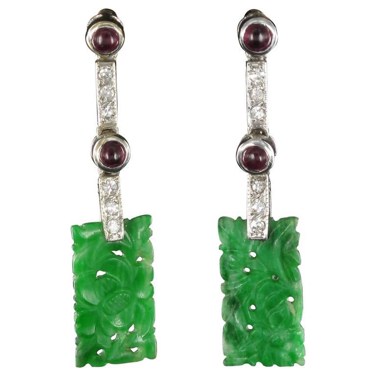 Jade Ruby Diamond Gold Drop Earrings