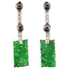 Art deco Style Jade Ruby Diamond Gold Drop Earrings