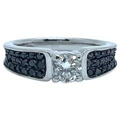 Diamond Solitaire 18 Karat White Gold Paved with Black Diamonds