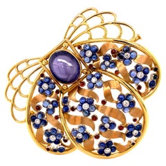 Unique Sapphire and Diamond Brooch by Meister in 18 Karat Gold