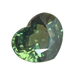 1.13ct Vivid Green Australian Sapphire Heart Cut Untreated Gem