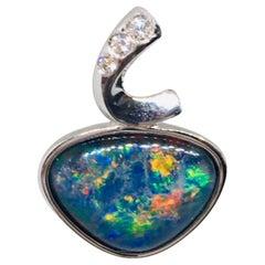 Australian Opal Necklace Sterling Silver