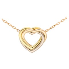 Vintage Cartier Open Heart Trinity Necklace Set in 18k Rose, Yellow & White Gold