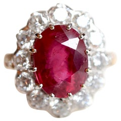 Pompadour Model Ring in 18K Yellow Gold, Diamonds and 5.12K Rubies