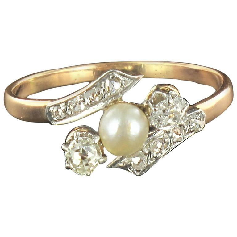 French Antique Fine Pearl Diamond Gold Ring