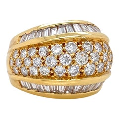 Wide Dome Baguette & Round Diamond Ring in 18K Yellow Gold