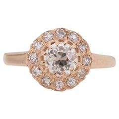 GIA Certified .70 Carat Edwardian Diamond 14 Karat Rose Gold Engagement Ring