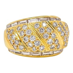 Wide Dome Round Diamond & Baguette Accent Ring in 18K Yellow Gold
