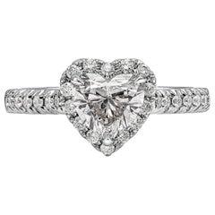 Roman Malakov GIA Certified 1.07 Carat Heart Shape Diamond Halo Engagement Ring