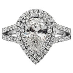 Roman Malakov GIA Certified Pear Shape Diamond Double Halo Engagement Ring