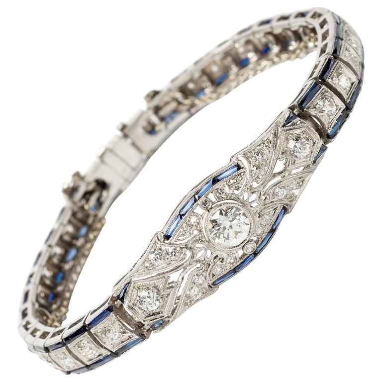 1920s Art Deco Sapphire Diamond Gold Platinum Bracelet
