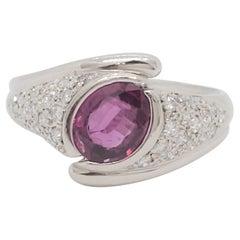 GIA No Heat Thai Purple Pink Sapphire and White Diamond Ring in Platinum