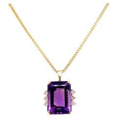 Vintage Purple Amethyst Gold Neckalce with Diamonds