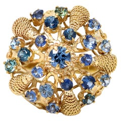 Cluster Sapphire Dome Ring Circa 1930 in 14K