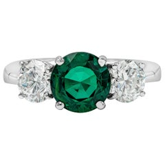 GIA Certified Rare Russian Emerald and Diamond Three-Stone Engagement Ring