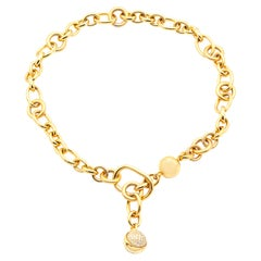 Pomellato Gold Link Ball Necklace with Diamonds