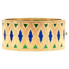 Buccellati Gold Cuff Bracelet with Plique A Jour