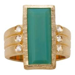 Ammanii Green Chrysoprase and Zircon 18k Gold Vermeil Cocktail Ring