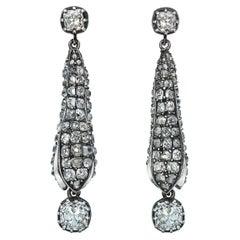 Old Cut Diamond Encrusted 5.60 Carat Pod Dangling Earrings