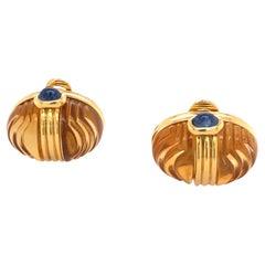Bulgari 18k Gold Citrine Cabochon Sapphire Earrings