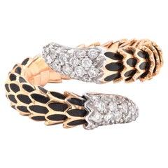 Roberto Coin 18 Karat Yellow Gold Enamel and Diamond Snake Scale Ring