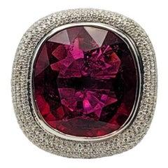 Red Rubelite and Diamond Ring