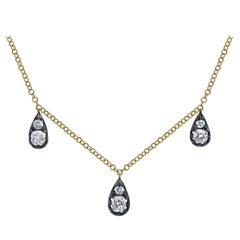 Cushion Cut Diamond Drop One-of-a-Kind 18 Karat Yellow Textured Gold Necklace