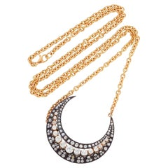Victorian 5.75 Carat Diamond Crescent Pendant & Custom 18k Rose Gold Chain
