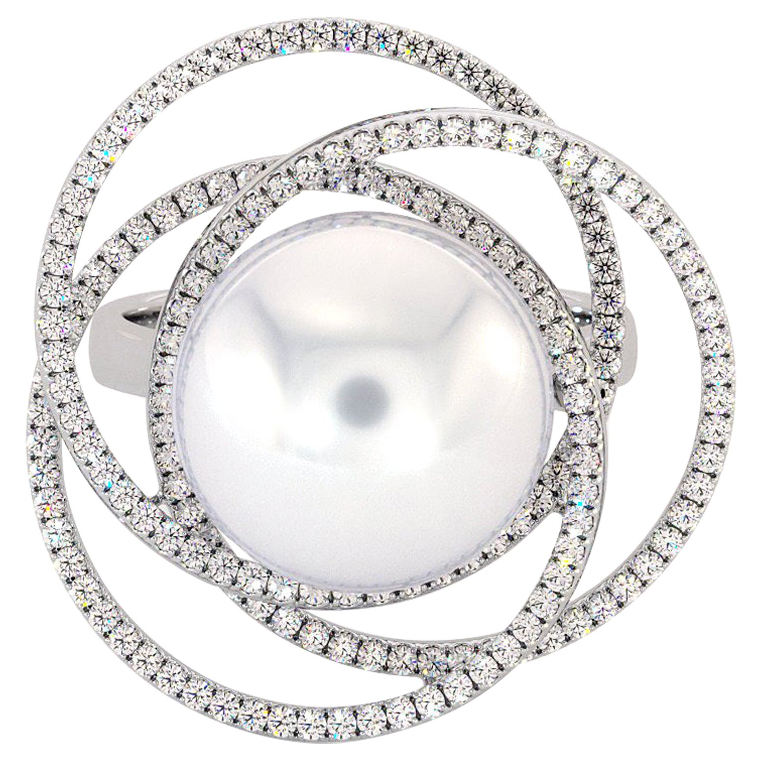 18K White Gold South Sea White Pearl Diamonds Ring