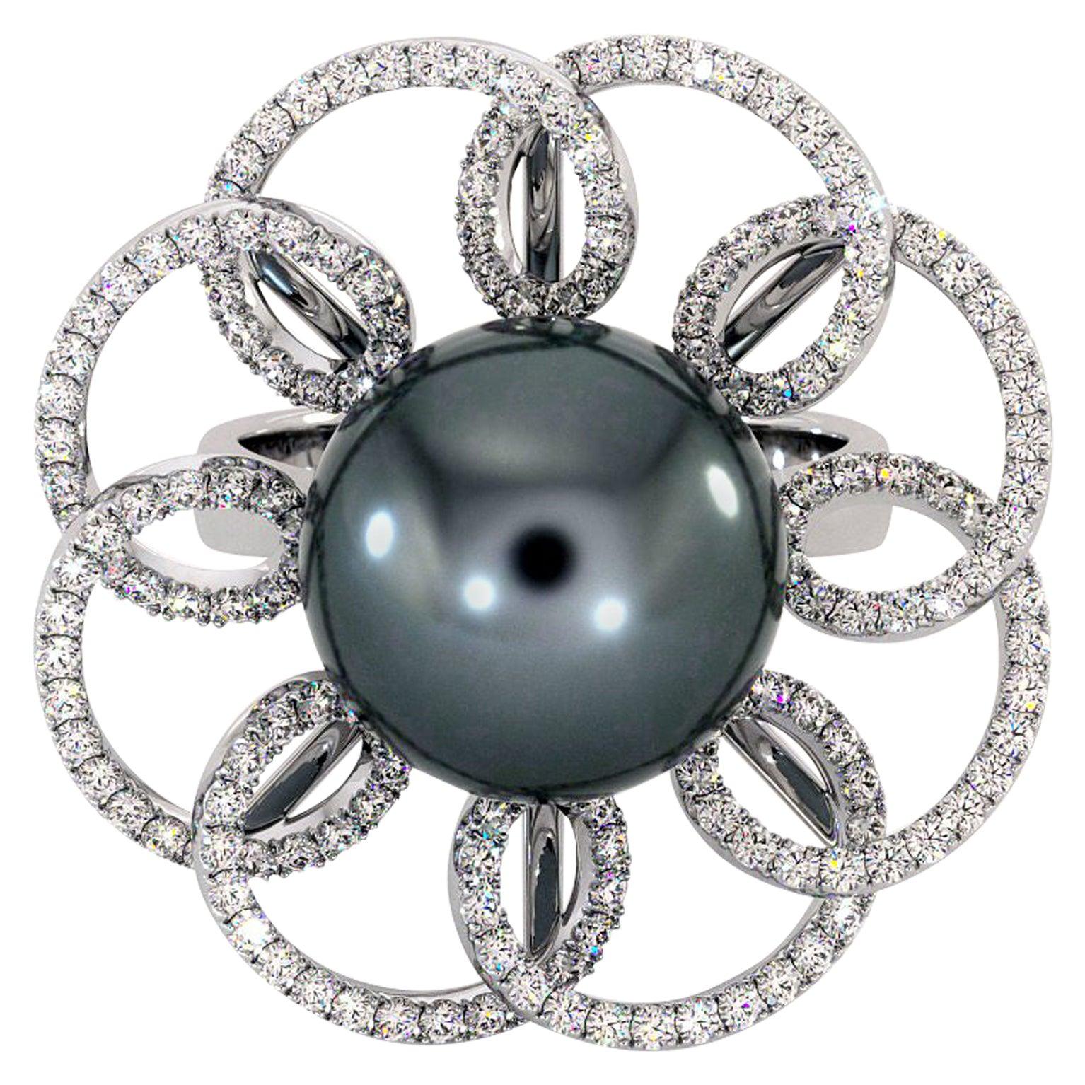 18K White Gold Black Tahitian Pearl Diamonds Ring