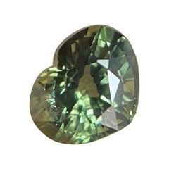 Vivid Green Australian Sapphire 1.12ct Heart Cut Untreated Gem