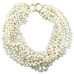 Tiffany & Co. Pearl Gold Multi Strand Torsade Necklace