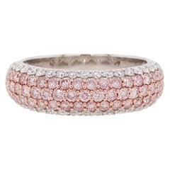 Natural Argyle Pink Diamond and White Diamond in Platinum Band Ring
