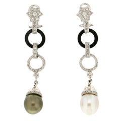Handcraft Diamonds Pearls Onix 18 Kt White Gold Drop Earring
