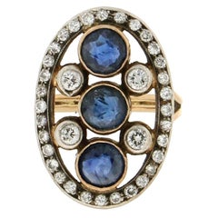 Handcraft Sapphires 18 Kt Yellow Gold Diamonds Cocktail Ring