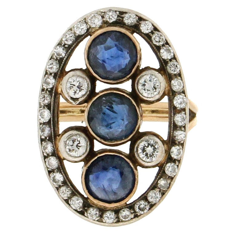 Handcraft Sapphires 18 Kt Yellow Gold Diamonds Cocktail Ring For Sale