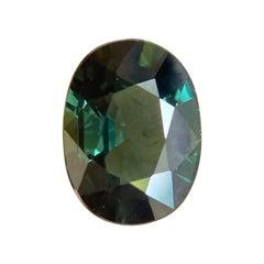 1.34ct Deep Green Sapphire Oval Cut Rare Loose Gem