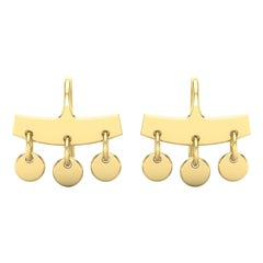 22 Karat Gold Disk Dangle Earrings by Romae Jewelry Inspired by Ancient Designs